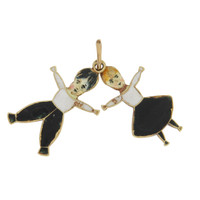 Vintage Enameled Spooky Girl and Boy 18k Gold Charm