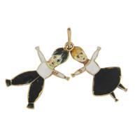 Vintage Enameled Folk Dancers 18k Gold Charm