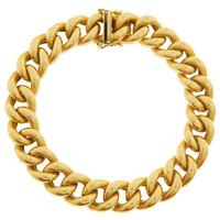 Vintage Italian Curb 18k Gold Charm Bracelet