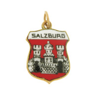 Vintage Enameled Salzburg Shield 14k Gold Charm