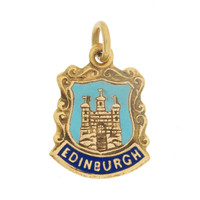Vintage Edinburgh Coat Of Arms 9k Gold Charm