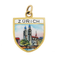 Vintage Enameled Zurich City Scene Shield 14k Gold Charm
