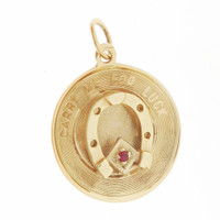 "Vintage ""Carry Me For Luck"" 14k Gold Charm"