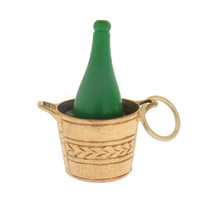 Vintage Green Champagne Bucket 9k Gold Charm