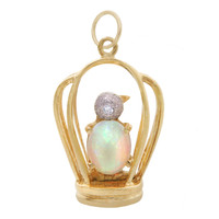 Vintage Opal & Diamond Bird In Cage 14k Gold Charm