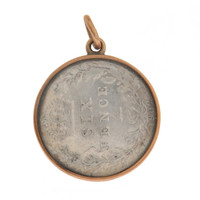 Vintage Edwardian Sixpence In Glass 10k Gold Charm