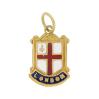 Vintage Enameled London Coat Of Arms 9k God Charms