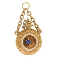 Vintage Floral Etched Perfume Bottle 14k Gold Charm