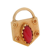 Vintage Double Sided Coral Lock 18k Gold Charm