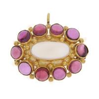 Vintage Amethyst & Moonstone Object 14k Gold Charm