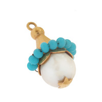 Vintage Pearl & Turquoise Object 14k Gold Charm