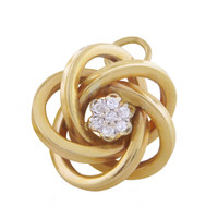 Vintage Diamond Love Knot 14k Gold Charm