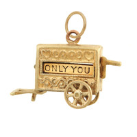 "Vintage Ice Cream Cart ""You, Only You""14k Gold Charm"