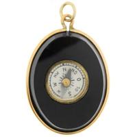 Vintage Onyx Compass 14k Gold Charm