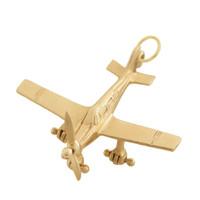 Vintage Large Propeller Plane 14k Gold Charm