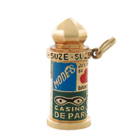 Vintage Enameled Paris Kiosk 14k Gold Charm