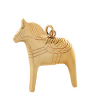 Vintage Large Swedish Dala Horse 18k Gold Charm