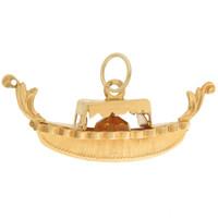 Vintage Large Gondola with Citrine 18k Gold Charm