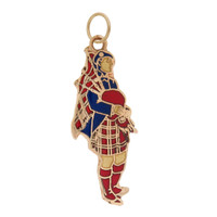 Vintage Colorful Bagpiper 14k Gold Charm