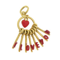 """Vintage Red """"I Love You"""" Keys 9k Gold Charm"""