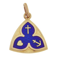 "Vintage ""Love Hope Charity"" 18k Gold Charm"