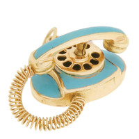 Vintage Movable Blue Enameled Telephone 14K Gold Charm
