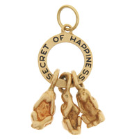 "Vintage ""Secret Of Happiness"" Monkeys 14k Gold Charm"