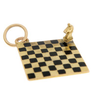 Vintage Enameled Chess Board 14k Gold Charms