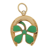 Vintage Lucky Horseshoe with Clover 14k Gold Charm