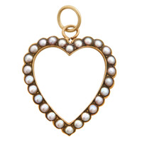Vintage Victorian Heart with Seed Pearls 14k Gold Charm