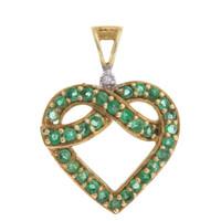 Vintage Emerald Heart 10k Gold Charm