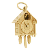 Vintage Cuckoo Clock 9K Gold Charm