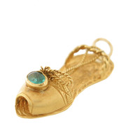 Vintage Ancient Greek Sandal 18k Gold Charm