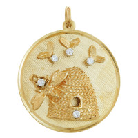 Vintage Diamond Beehive Disc 14k Gold Charm