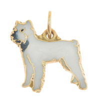 Vintage Dog - White and Gray Puppy 14k Gold Charm