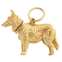 Vintage Dog- Bobble Head German Shepherd 14k Gold Charm