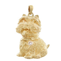 Vintage Dog - Westie with Diamond In Collar 14k Gold Charm