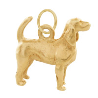 Vintage Dog- English Foxhound 14k Gold Charm