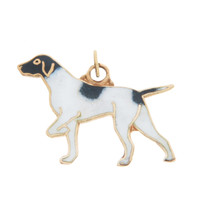 Vintage Dog - Enameled Pointer 14k Gold Charm