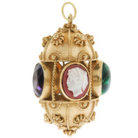 Vintage Etruscan Cameo and Gem Fob 14k Gold Charm