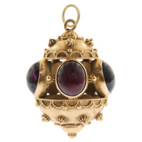 Vintage Etruscan Fob with Cabochon Garnets 18k Gold Charm