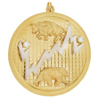 Vintage Bull & Bear with Diamonds 14k Gold Charm