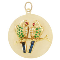 Vintage Jeweled Lovebirds 14k Gold Charm