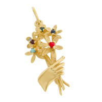 Vintage Flower Bouquet 14k Gold Charm