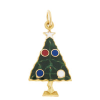 Vintage Enameled Christmas Tree 14k Gold Charm
