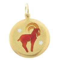 Vintage Enameled Aries 18k Gold Charm