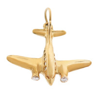 Diamond Airplane 14K Gold Charm