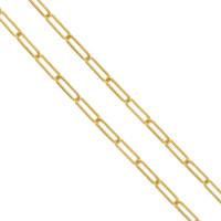 """Harper"" Rectangular Link 14k Gold Charm Necklace"