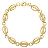 Vintage Deco Link Bracelet 14k Gold Charm Bracelet
