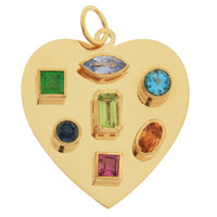Color Splash Gem Heart 14k Gold Charm